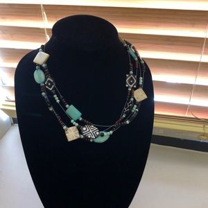 Chico's wire beaded necklace boho style